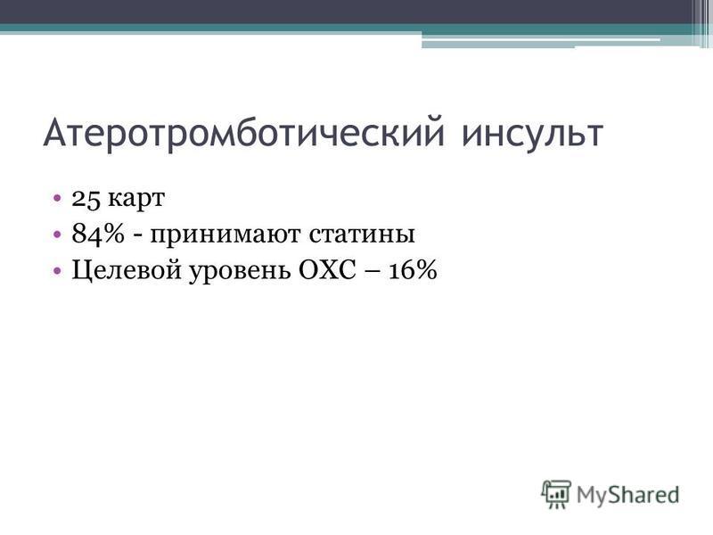 Атеротромботический инсульт 25 карт 84% - принимают сталины Целевой уровень ОХС – 16%