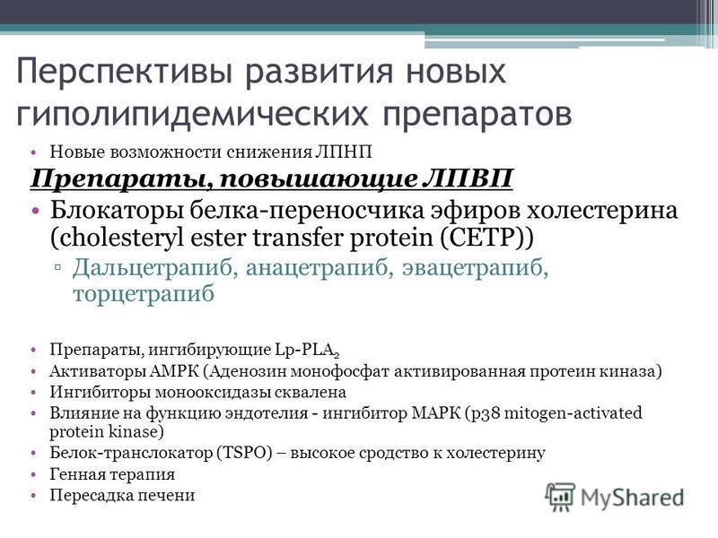 Перспективы развития новых гиполипидемических препаратов Новые возможности снижения ЛПНП Препараты, повышающие ЛПВП Блокаторы белка-переносчика эфиров холестерина (cholesteryl ester transfer protein (CETP)) Дальцетрапиб, анацетрапиб, эвацетрапиб, тор