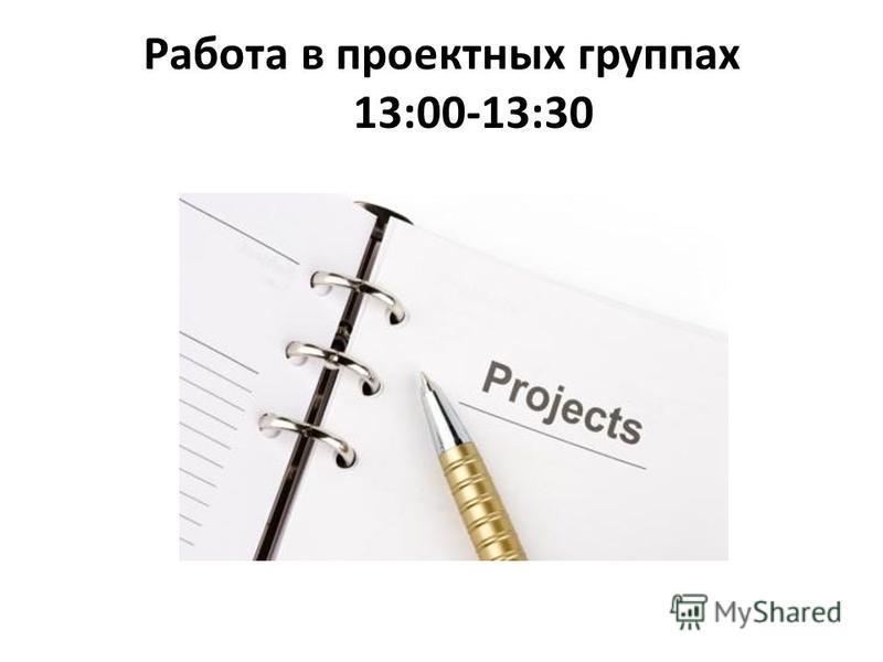 Работа в проектных группах 13:00-13:30