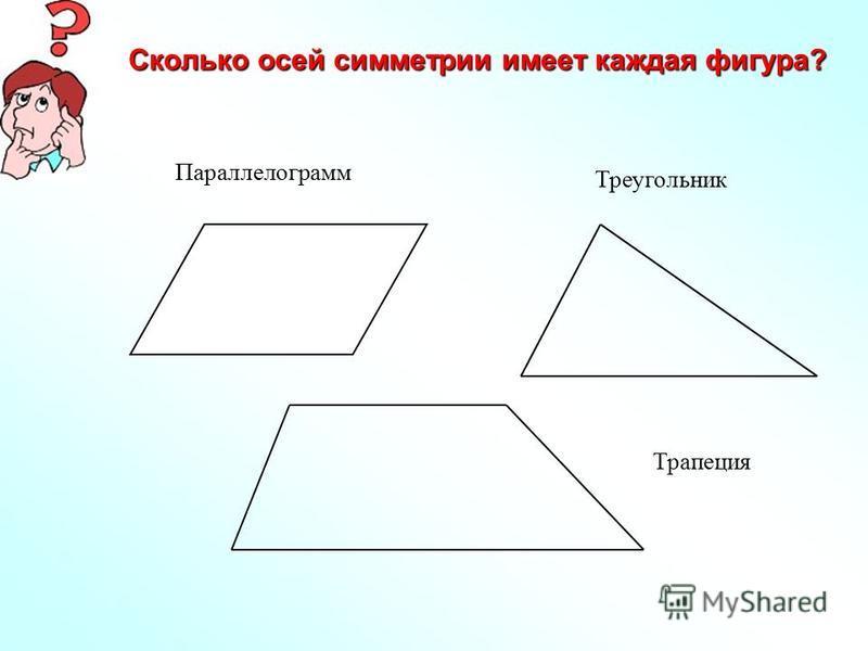 Сколько осей симметрии имеет каждая фигура? Параллелограмм Треугольник Трапеция
