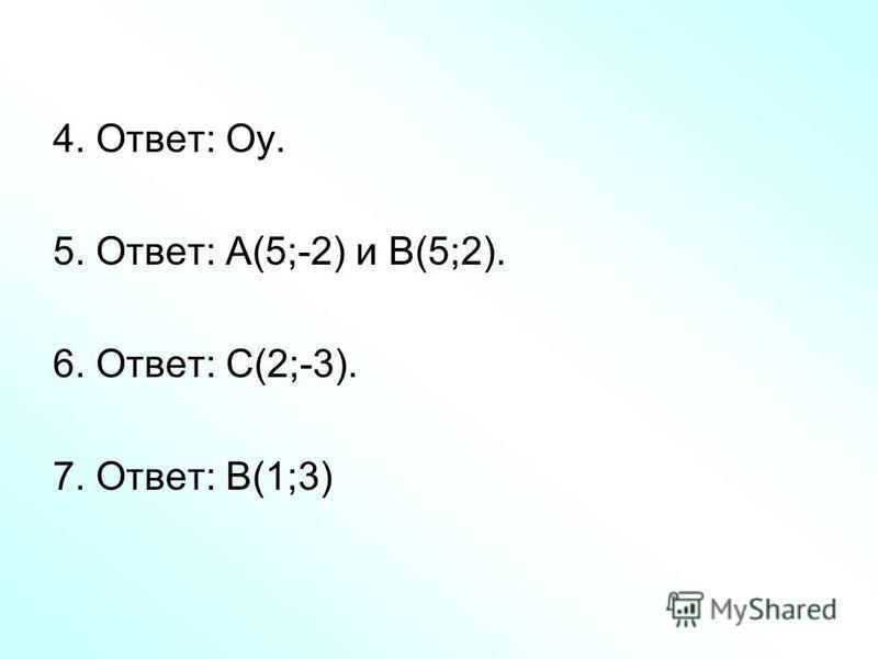 4. Ответ: Оу. 5. Ответ: А(5;-2) и В(5;2). 6. Ответ: С(2;-3). 7. Ответ: В(1;3)