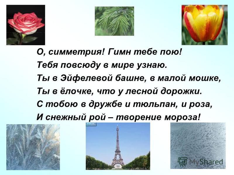 О, симметрия! Гимн тебе пою! Тебя повсюду в мире узнаю. Ты в Эйфелевой башне, в малой мошке, Ты в ёлочке, что у лесной дорожки. С тобою в дружбе и тюльпан, и роза, И снежный рой – творение мороза!
