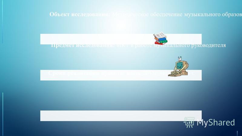 Предмет исследования: ИКТ в работе музыкального руководителя Объект исследования: Методическое обеспечение музыкального образования в условиях ФГОС Сроки реализации проекта: июль 2015 г. – июнь 2016 г.