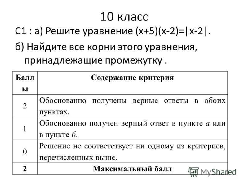 10 класс С1 : а) Решите уравнение (x+5)(x-2)=|x-2|. б) Найдите все корни этого уравнения, принадлежащие промежутку. Балл ы Содержание критерия 2 Обоснованно получены верные ответы в обоих пунктах. 1 Обоснованно получен верный ответ в пункте а или в п