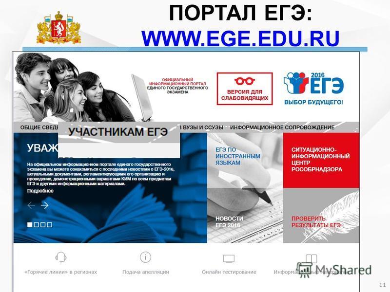 ПОРТАЛ ЕГЭ: WWW.EGE.EDU.RU 11