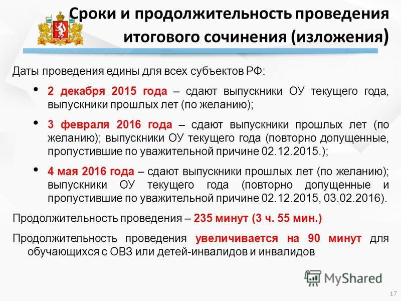 Даты проведения едины для всех субъектов РФ: 2 декабря 2015 года – сдают выпускники ОУ текущего года, выпускники прошлых лет (по желанию); 3 февраля 2016 года – сдают выпускники прошлых лет (по желанию); выпускники ОУ текущего года (повторно допущенн