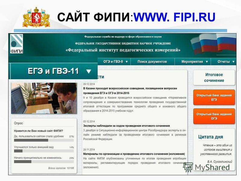 САЙТ ФИПИ:WWW. FIPI.RU