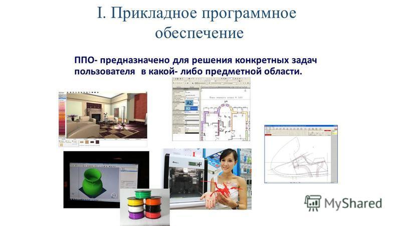 ППО- предназначено для решения конкретных задач пользователя в какой- либо предметной области. I. Прикладное программное обеспечение