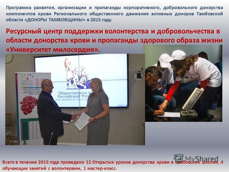 Программа развития, организации и пропаганды корпоративного, добровольного донорства компонентов крови Регионального общественного движения активных доноров Тамбовской области «ДОНОРЫ ТАМБОВЩИНЫ» в 2015 году. Ресурсный центр поддержки волонтерства и
