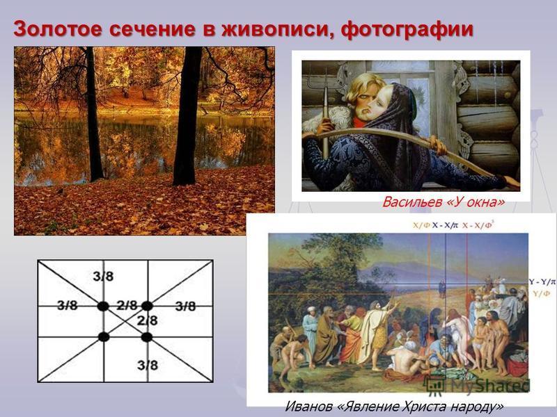 Золотое сечение в живописи, фотографии Васильев «У окна» Иванов «Явление Христа народу»