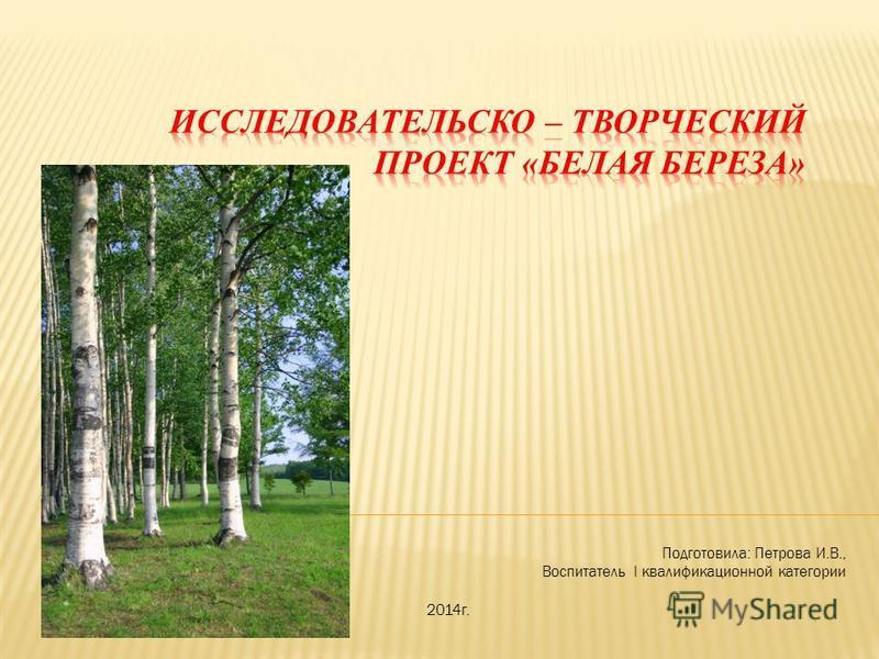 Подготовила: Петрова И.В., Воспитатель I квалификационной категории 2014 г.