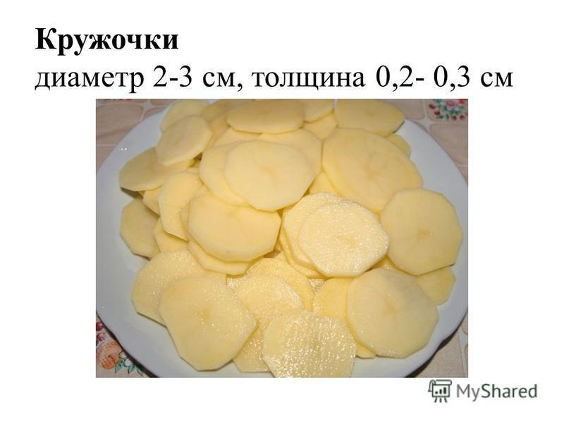 Кружочки диаметр 2-3 см, толщина 0,2- 0,3 см