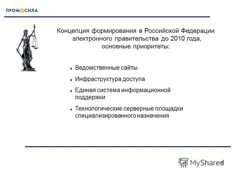 9 Концепция формирования в Российской Федерации электронного правительства до 2010 года, основные приоритеты: Ведомственные сайты Инфраструктура доступа Единая система информационной поддержки Технологические серверные площадки специализированного на