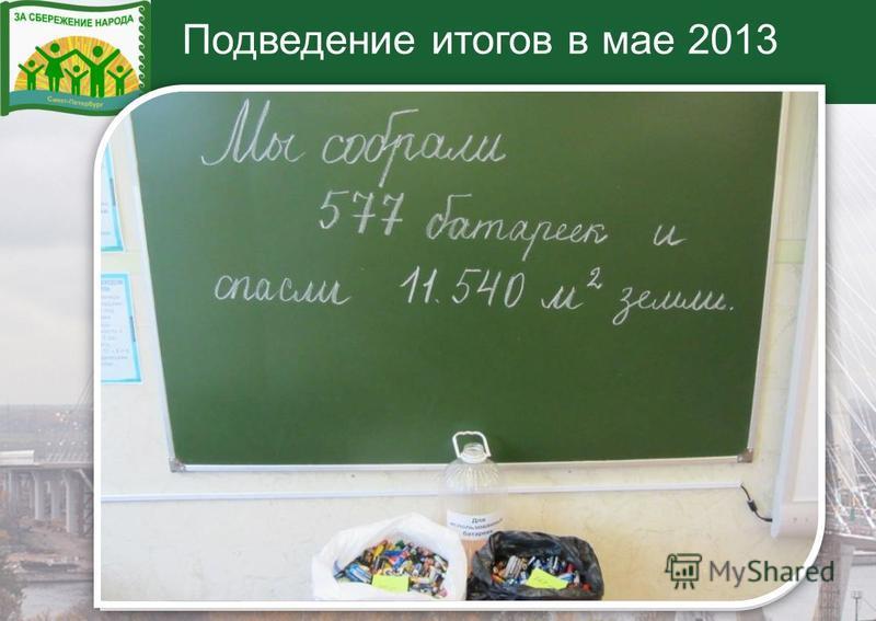 Подведение итогов в мае 2013