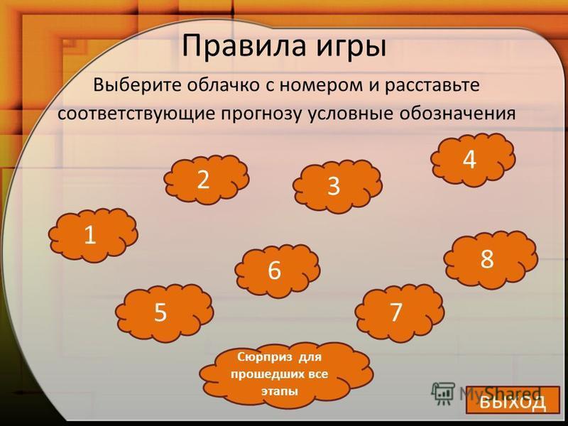 Правила игры Выберите облачко с номером и расставьте соответствующие прогнозу условные обозначения 1 2 3 6 7 4 5 8 выход Сюрприз для прошедших все этапы