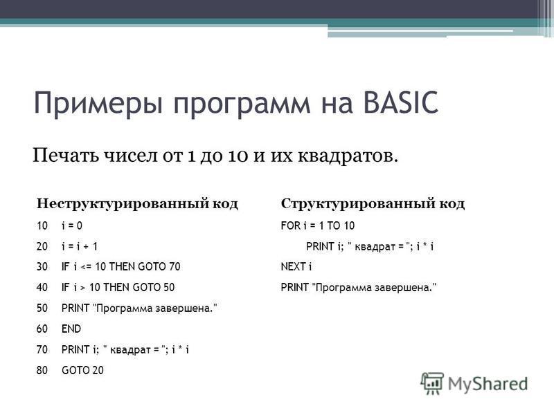 Примеры программ на BASIC Печать чисел от 1 до 10 и их квадратов. Неструктурированный код 10i = 0 20i = i + 1 30IF i 10 THEN GOTO 50 50PRINT