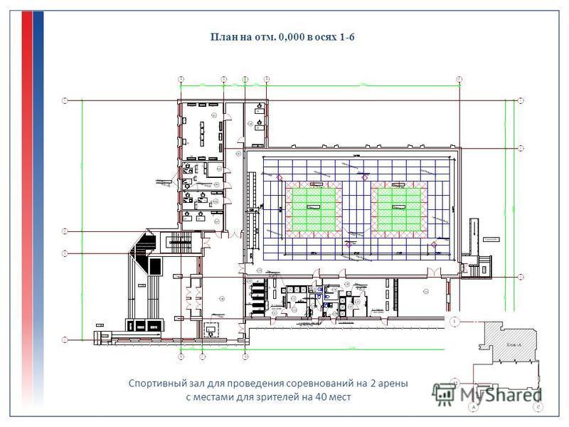 План на отм. 0,000 в осях 1-6 Спортивный зал для проведения соревнований на 2 арены с местами для зрителей на 40 мест