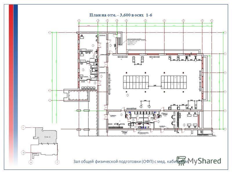 План на отм. - 3,600 в осях 1-6 Зал общей физической подготовки (ОФП) с мед. кабинетом.