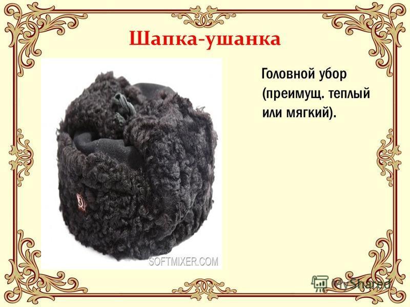 Шапка-ушанка Головной убор (преимущ. теплый или мягкий).