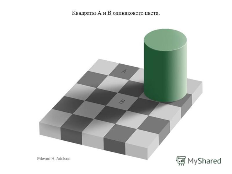 Квадраты А и В одинакового цвета.