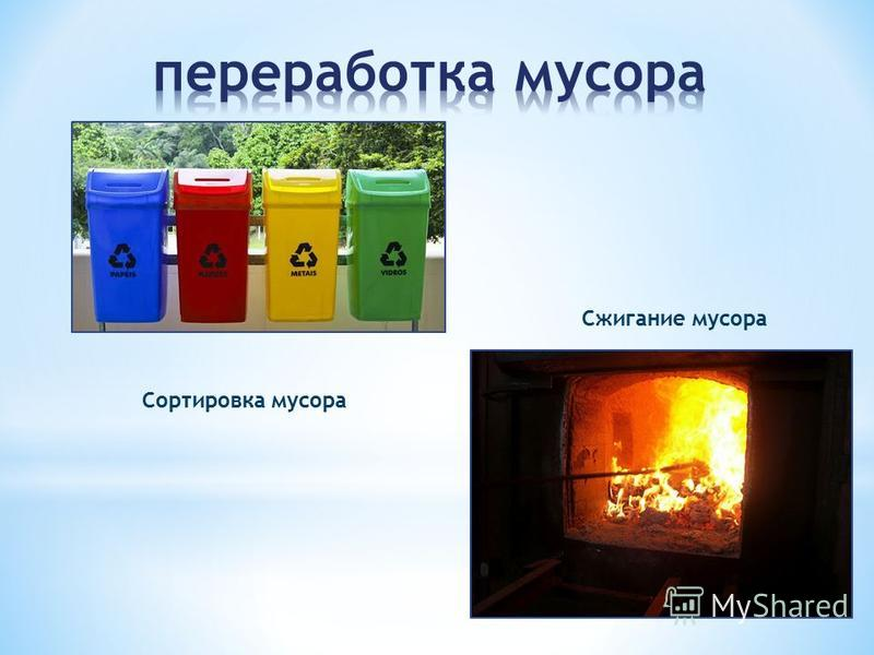Сортировка мусора Сжигание мусора