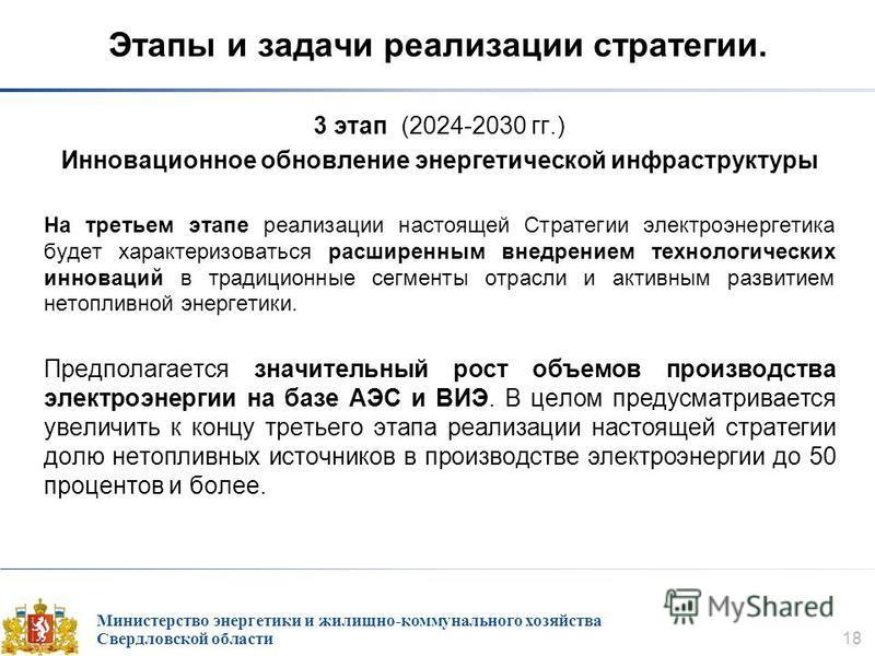 Министерство энергетики и жилищно-коммунального хозяйства Свердловской области 18 Этапы и задачи реализации стратегии. 3 этап (2024-2030 гг.) Инновационное обновление энергетической инфраструктуры На третьем этапе реализации настоящей Стратегии элект