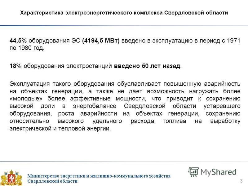 Министерство энергетики и жилищно-коммунального хозяйства Свердловской области 3 Характеристика электроэнергетического комплекса Свердловской области 44,5% оборудования ЭС (4194,5 МВт) введено в эксплуатацию в период с 1971 по 1980 год. 18% оборудова
