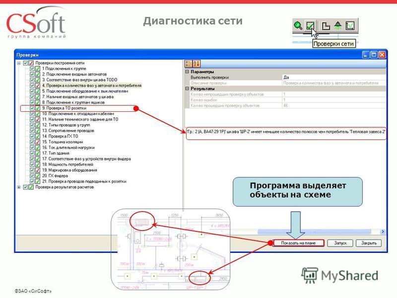 ©ЗАО «Си Софт» Диагностика сети Программа выделяет объекты на схеме