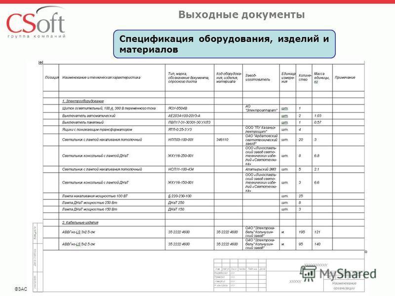 ©ЗАО «Си Софт» Выходные документы Спецификация оборудования, изделий и материалов