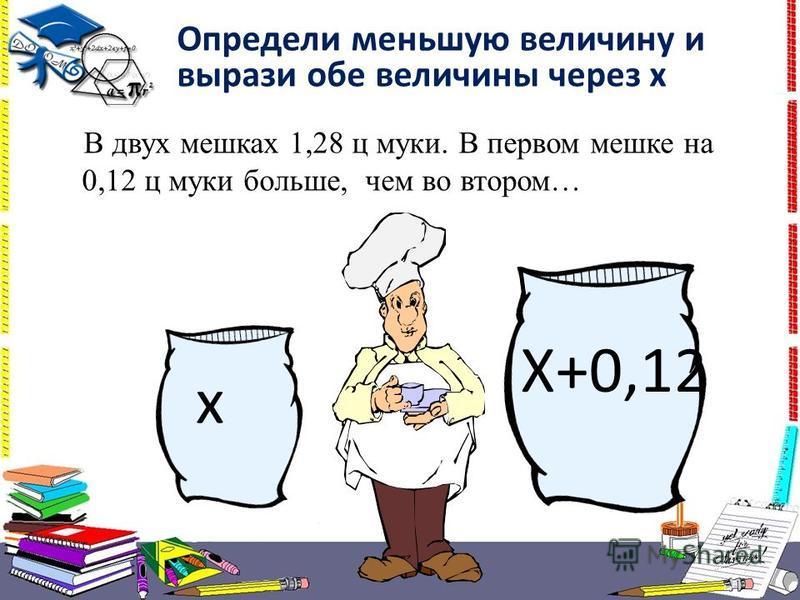 В двух мешках 1,28 ц муки. В первом мешке на 0,12 ц муки больше, чем во втором… Определи меньшую величину и вырази обе величины через х х Х+0,12
