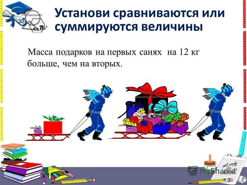 Установи сравниваются или суммируются величины Масса подарков на первых санях на 12 кг больше, чем на вторых.