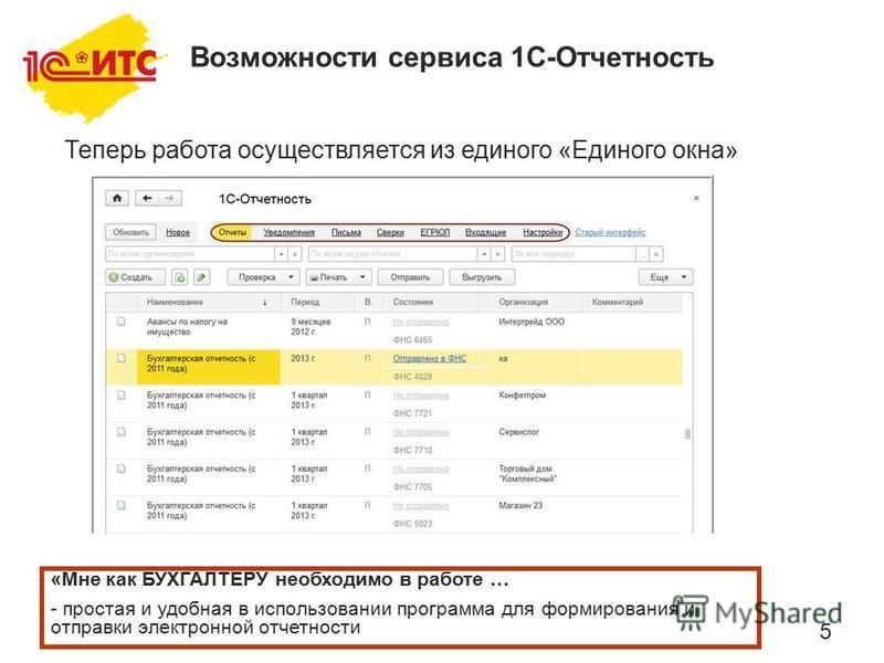 5 Теперь работа осуществляется из единого «Единого окна» «Мне как БУХГАЛТЕРУ необходимо в работе … - простая и удобная в использовании программа для формирования и отправки электронной отчетности