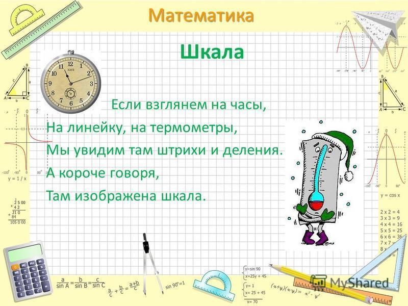 Математика Шкала Если взглянем на часы, На линейку, на термометры, Мы увидим там штрихи и деления. А короче говоря, Там изображена шкала.