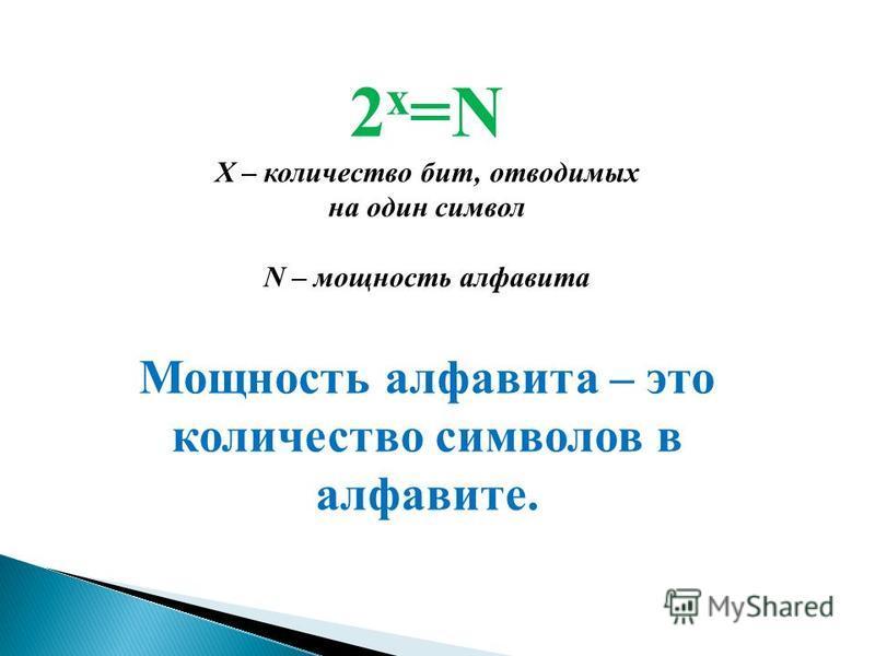 2 х =N Х – количество бит, отводимых на один символ N – мощность алфавита Мощность алфавита – это количество символов в алфавите.