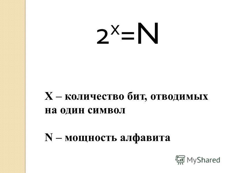 2 х =N Х – количество бит, отводимых на один символ N – мощность алфавита
