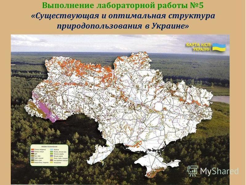 Выполнение лабораторной работы 5 «Существующая и оптимальная структура природопользования в Украине»
