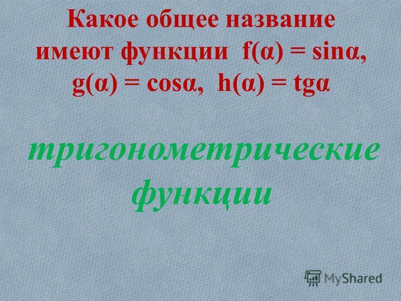 Какое общее название имеют функции f(α) = sinα, g(α) = cosα, h(α) = tgα тригонометрические функции