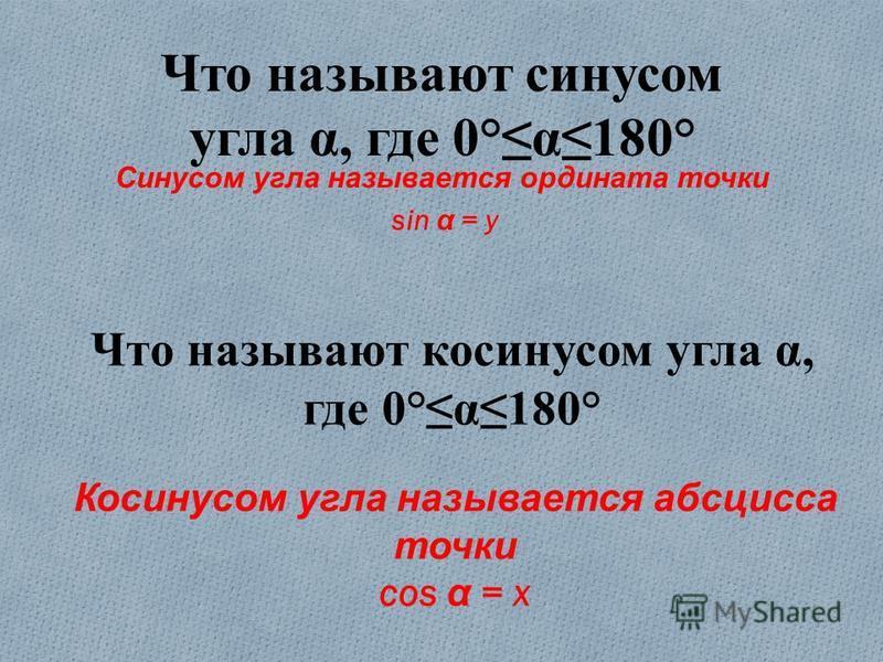 Что называют синусом угла α, где 0°α180° Синусом угла называется ордината точки sin α = y Что называют косинусом угла α, где 0°α180° Косинусом угла называется абсцисса точки cos α = x
