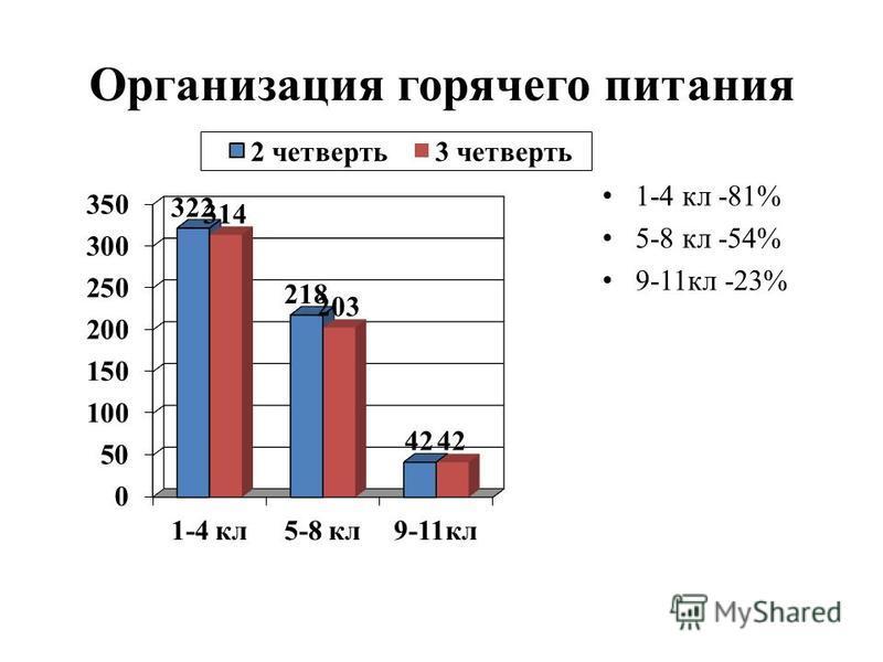 Организация горячего питания 1-4 кл -81% 5-8 кл -54% 9-11 кл -23%