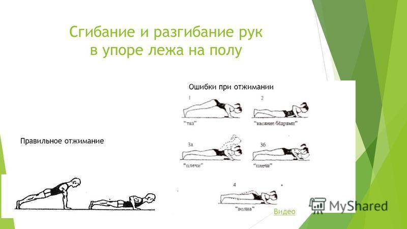 Сгибание и разгибание рук в упоре лежа на полу Правильное отжимание Ошибки при отжимании Видео