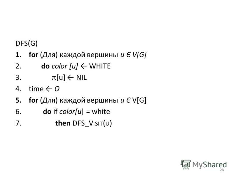 DFS(G) 1. for (Для) каждой вершины и Є V[G] 2. do color [и] WHITE 3. π[u] NIL 4. time О 5. for (Для) каждой вершины и Є V[G] 6. do if color[u] = white 7. then DFS_V ISIT ( U ) 28