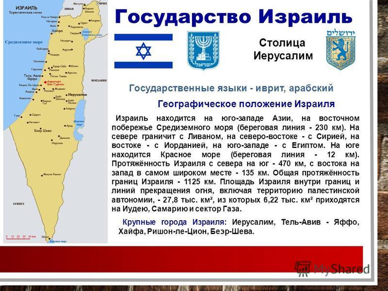Государство Израиль Столица Иерусалим Крупные города Израиля: Иерусалим, Тель-Авив - Яффо, Хайфа, Ришон-ле-Цион, Беэр-Шева. Израиль находится на юго-западе Азии, на восточном побережье Средиземного моря (береговая линия - 230 км). На севере граничит