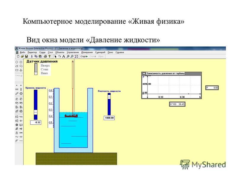 Вид окна модели «Давление жидкости» Компьютерное моделирование «Живая физика»