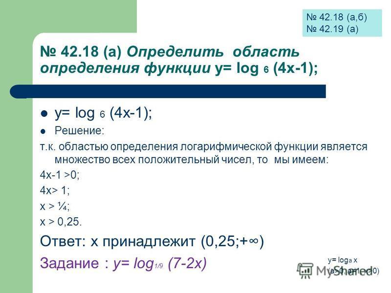 42.18 (а) Определить область определения функции у= log 6 (4 х-1); у= log 6 (4 х-1); Решение: т.к. областью определения логарифмической функции является множество всех положительный чисел, то мы имеем: 4 х-1 >0; 4 х> 1; х > ¼; х > 0,25. Ответ: х прин