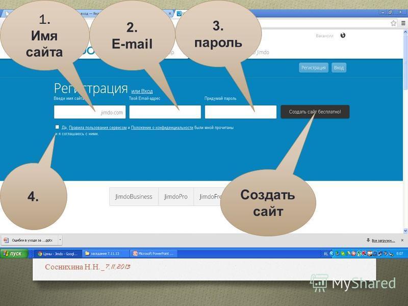 2. E-mail 1. Имя сайта 3. пароль 4. Создать сайт