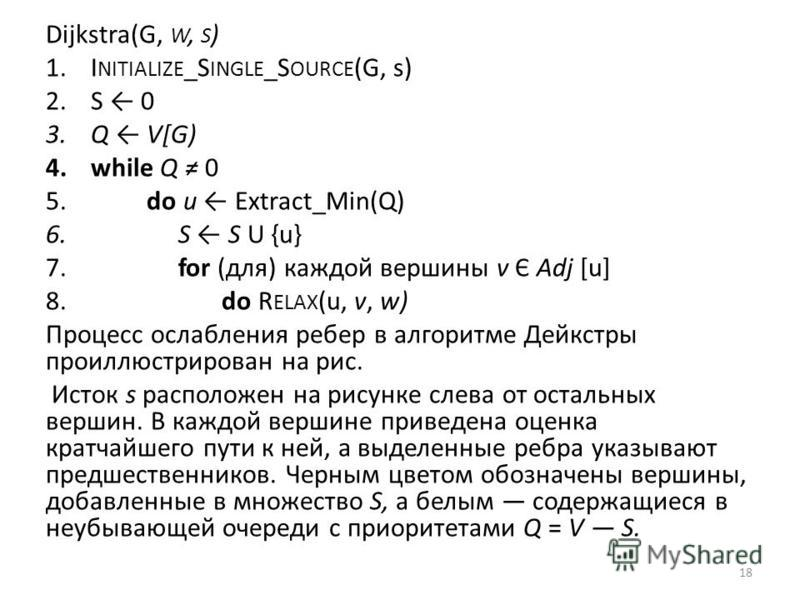 Dijkstra(G, W, S ) 1. I NITIALIZE _S INGLE _S OURCE (G, s) 2. S 0 3. Q V[G) 4. while Q 0 5. do и Extract_Min(Q) 6. S S U {u} 7. for (для) каждой вершины v Є Adj [u] 8. do R ELAX (u, v, w) Процесс ослабления ребер в алгоритме Дейкстры проиллюстрирован