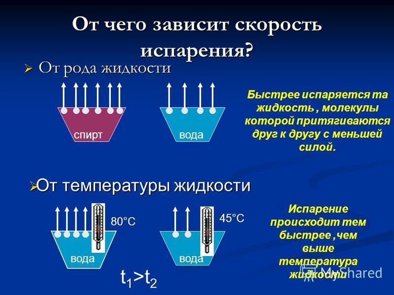 От чего зависит скорость испарения? От рода жидкости От рода жидкости спирт вода Быстрее испаряется та жидкость, молекулы которой притягиваются друг к другу с меньшей силой. От температуры жидкости От температуры жидкости вода t 1 >t 2 80°С 45°С Испа