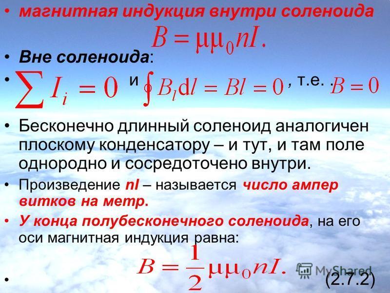 магнитная индукция внутри соленоида Вне соленоида: и, т.е.. Бесконечно длинный соленоид аналогичен плоскому конденсатору – и тут, и там поле однородно и сосредоточено внутри. Произведение nI – называется число ампер витков на метр. У конца полубескон
