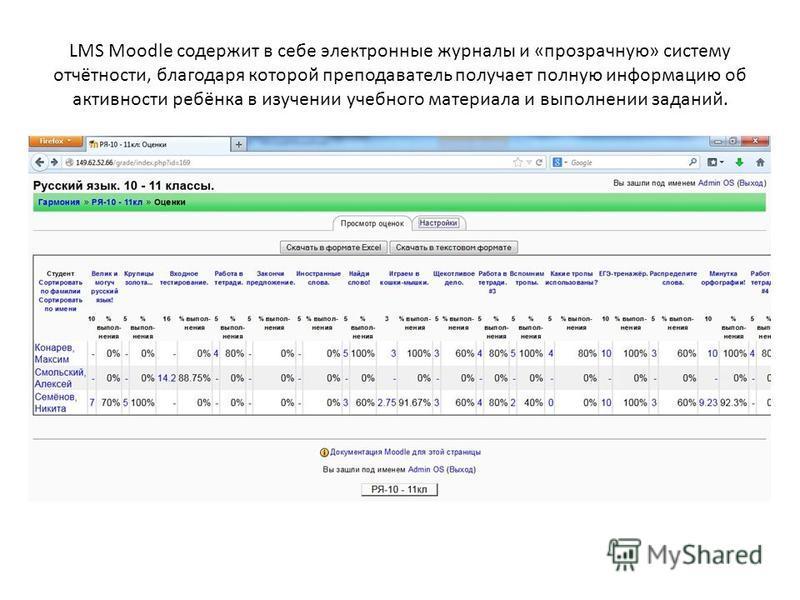 LMS Moodle содержит в себе электронные журналы и «прозрачную» систему отчётности, благодаря которой преподаватель получает полную информацию об активности ребёнка в изучении учебного материала и выполнении заданий.