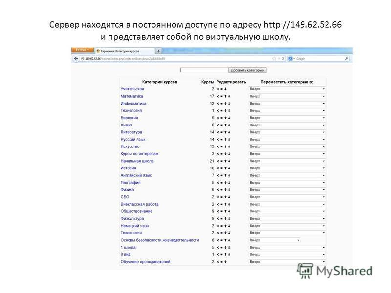Сервер находится в постоянном доступе по адресу http://149.62.52.66 и представляет собой по виртуальную школу.